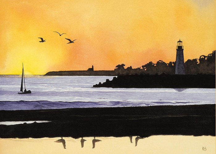 California Greeting Card featuring the painting Winter Silhouette Santa Cruz by Kerry Van Stockum