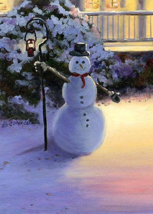 Winter Scene Snowman Light House Painting Oil Massonite Board Cecilia Brendel Thomas Kinkade Greeting Card featuring the painting Winter Snow Man by Cecilia Brendel