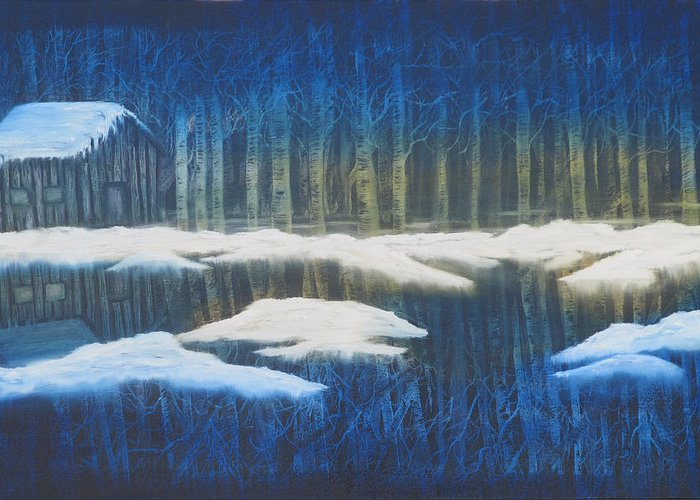 Winter Greeting Card featuring the painting Winter Solace by Mikki Alhart