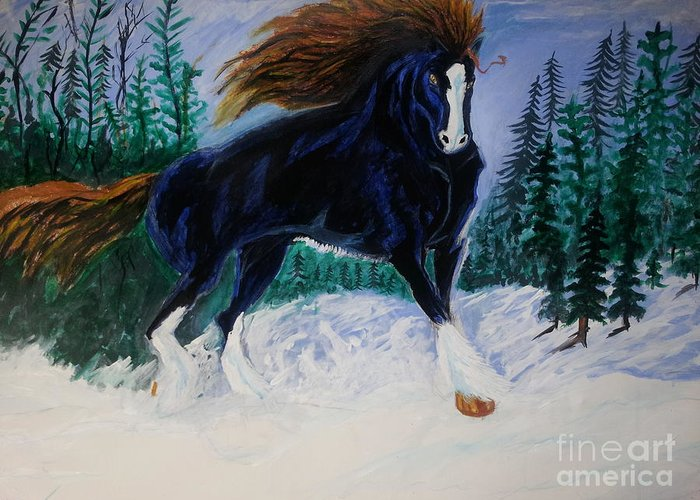 Winter Horse Snow Landscape Greeting Card featuring the painting Winter Soldier by Mark Bradley