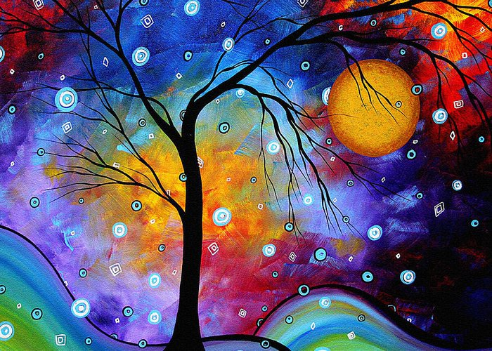 Abstract Greeting Card featuring the painting Winter Sparkle Original Madart Painting by Megan Duncanson