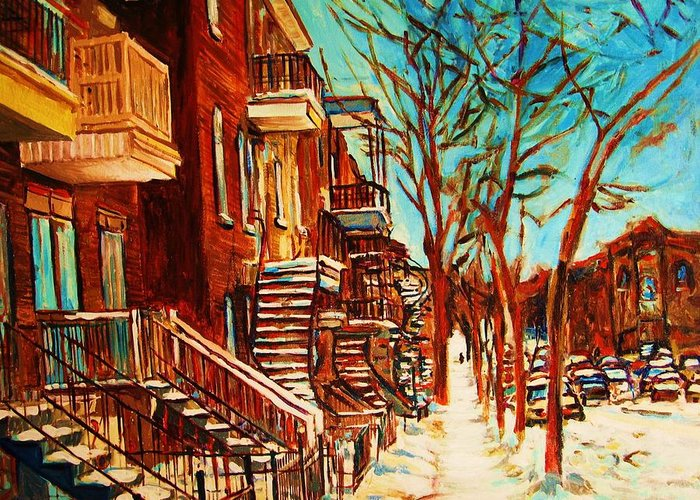Verdun Paintings By Montreal Street Scene Artist Carole Spandau Greeting Card featuring the painting Winter Staircase by Carole Spandau