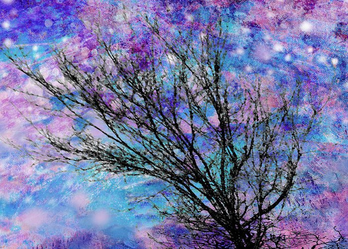 Starry Greeting Card featuring the digital art Winter Starry Night Square by Ann Powell