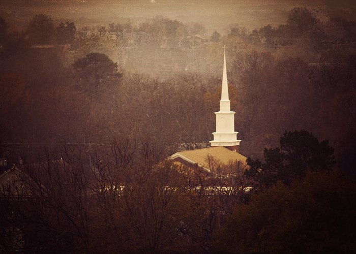 Church Greeting Card featuring the photograph Winter Steeple by Ken Gehring