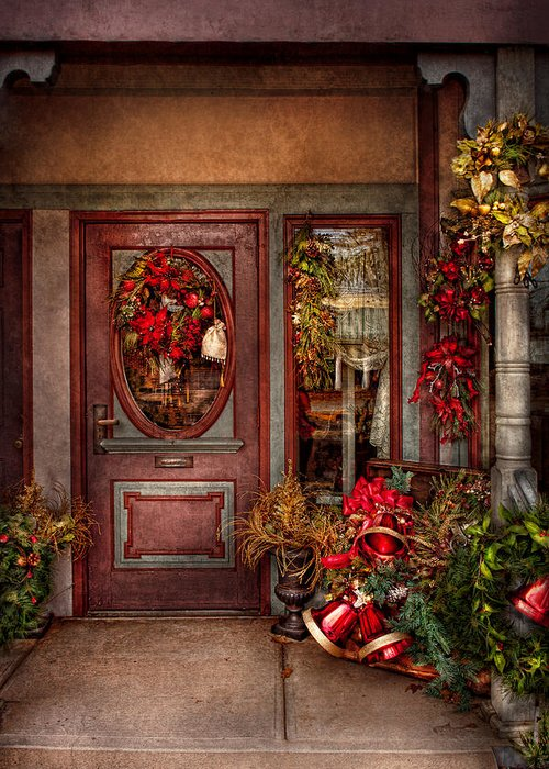Winter Greeting Card featuring the photograph Winter - Store - Metuchen Nj - Dressed For The Holidays by Mike Savad
