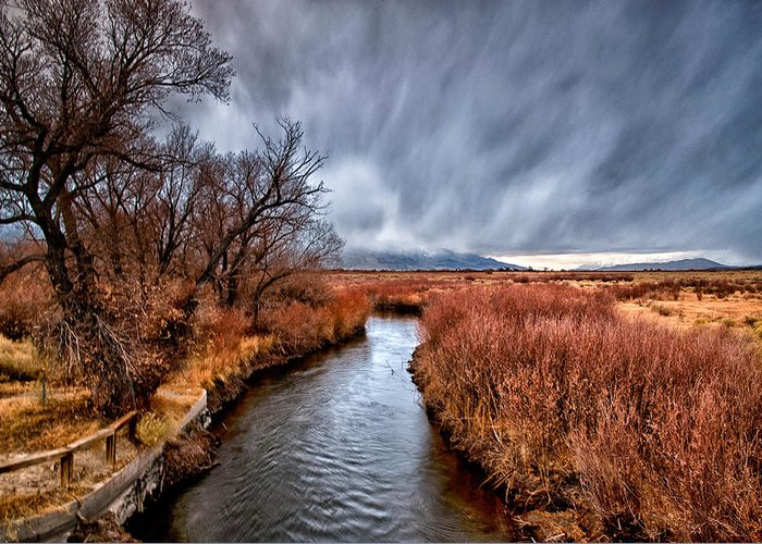 River Greeting Card featuring the photograph Winter Storm Over Owens River by Cat Connor
