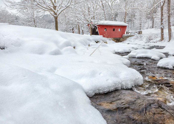 Covered Bridge Greeting Card featuring the photograph Winter Stream by Bill Wakeley