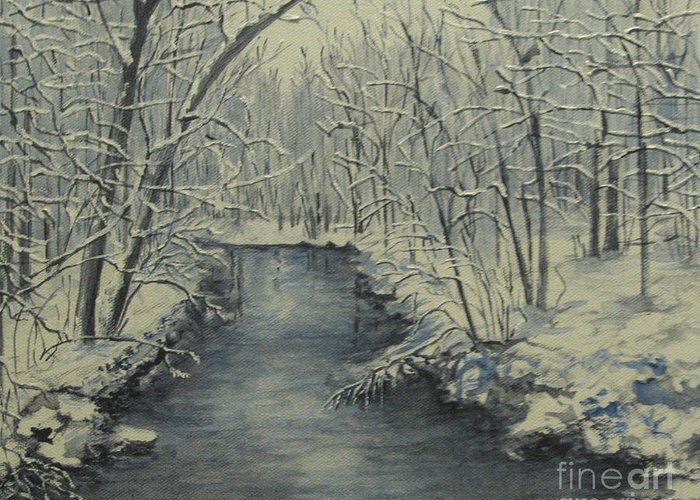 Landscape Greeting Card featuring the painting Winter Stream by Nancie Johnson
