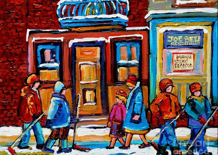 Montreal Greeting Card featuring the painting Winter Street In Saint Henri by Carole Spandau