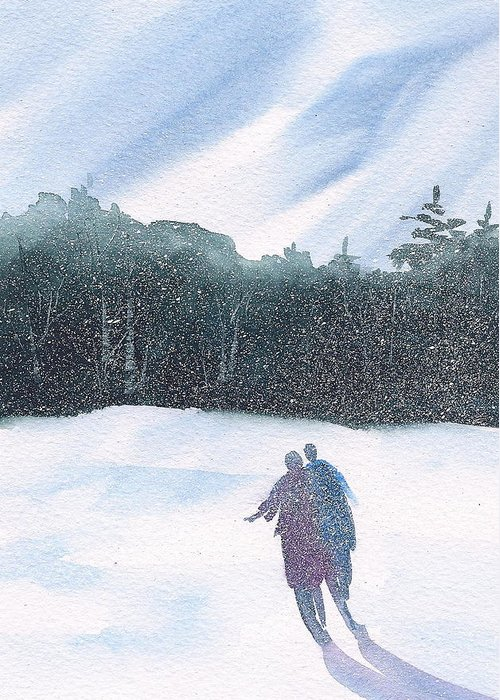 Snow Greeting Card featuring the painting Winter Stroll Series by Debra LePage