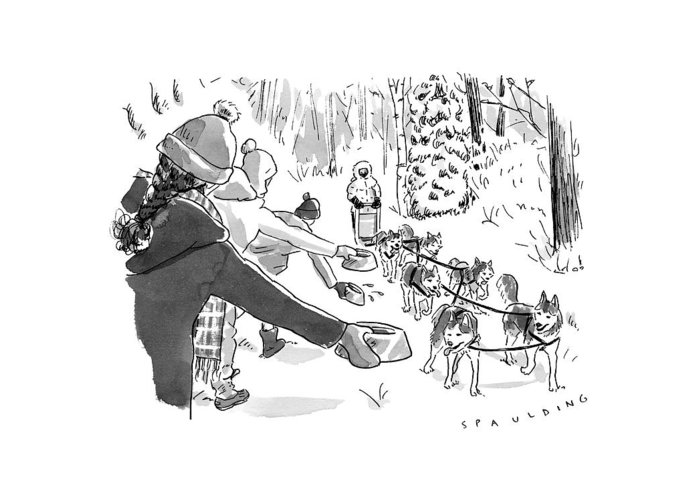 Captionless Marathon Greeting Card featuring the drawing Winter Suited Volunteers Hold Out Dog Dishes by Trevor Spaulding