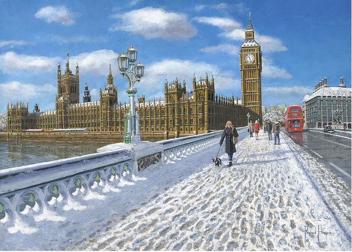 Landscape Greeting Card featuring the painting Winter Sun - Houses Of Parliament London by Richard Harpum