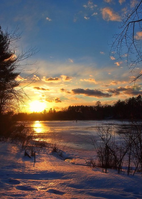 Winter Sunset Greeting Card featuring the photograph Winter Sundown by Joann Vitali