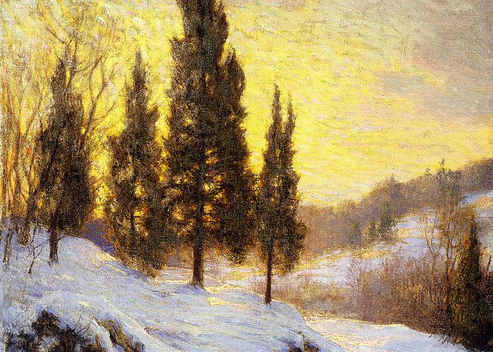 American Greeting Card featuring the painting Winter Sundown by Walter Launt Palmer