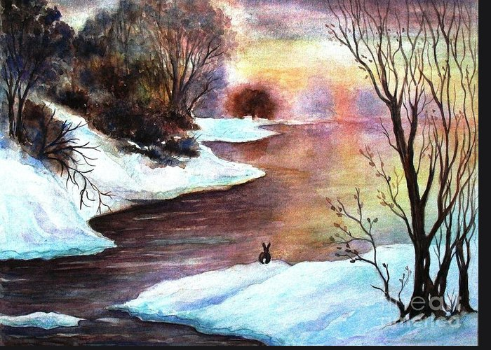 Winter Sunrise Greeting Card featuring the painting Winter Sunrise by Hazel Holland