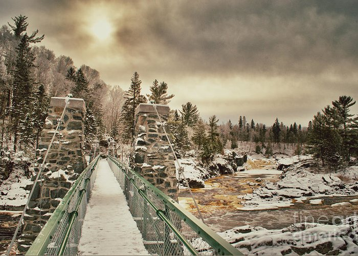 Jay Cooke Greeting Card featuring the photograph Winter Sunrise Over A Swinging Bridge by Ever-Curious Photography