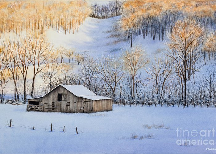 Sunset Greeting Card featuring the painting Winter Sunset by Michelle Wiarda
