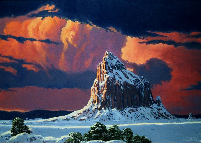 Sunset Greeting Card featuring the painting Winter Sunset Over Shiprock by Randy Follis