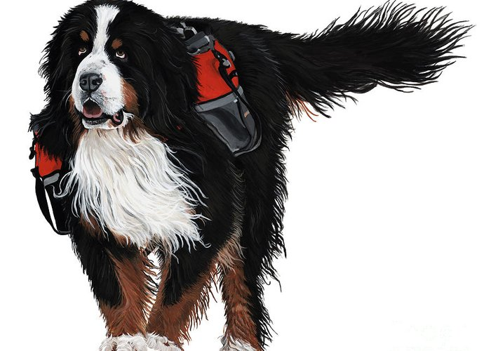 Bernese Mountain Dog Greeting Card featuring the painting Winter Trails by Liane Weyers