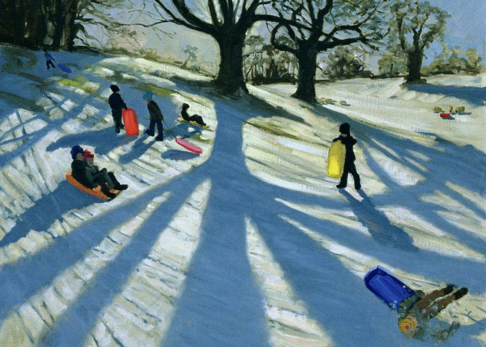 Sledging Greeting Card featuring the painting Winter Tree by Andrew Macara