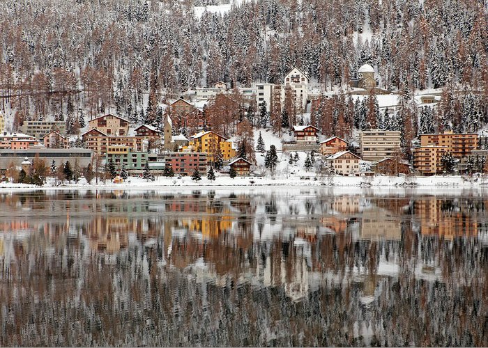 Holiday Greeting Card featuring the photograph Winter View Of Saint Moritz by Massimo Pizzotti