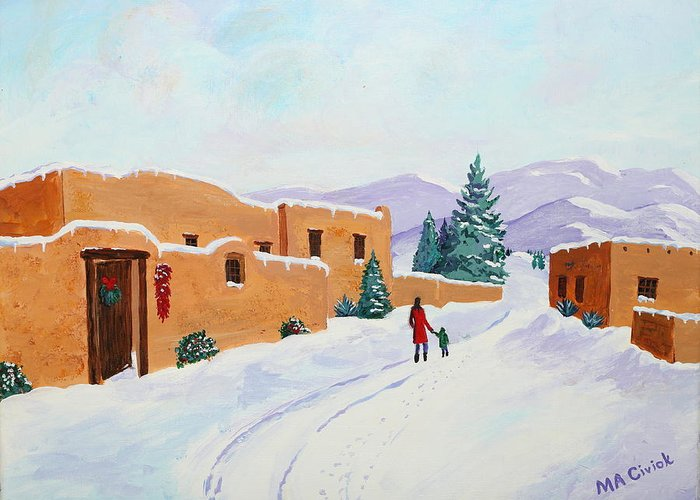 Snow Scene Greeting Card featuring the painting Winter Walk by Mary Anne Civiok