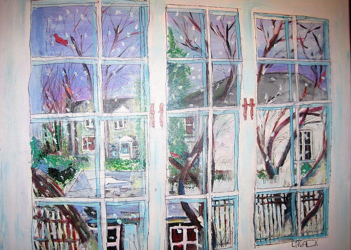 French Windows Greeting Card featuring the painting Winter Window by Michael Litvack