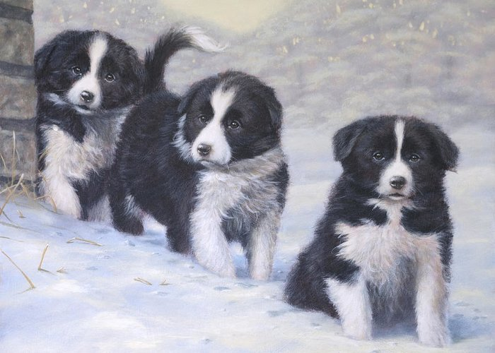 Border Collie Greeting Card featuring the painting Winter Wonderland by John Silver