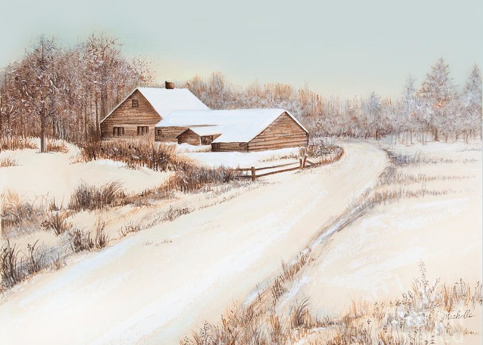 Winterness Greeting Card featuring the painting Winterness by Michelle Wiarda