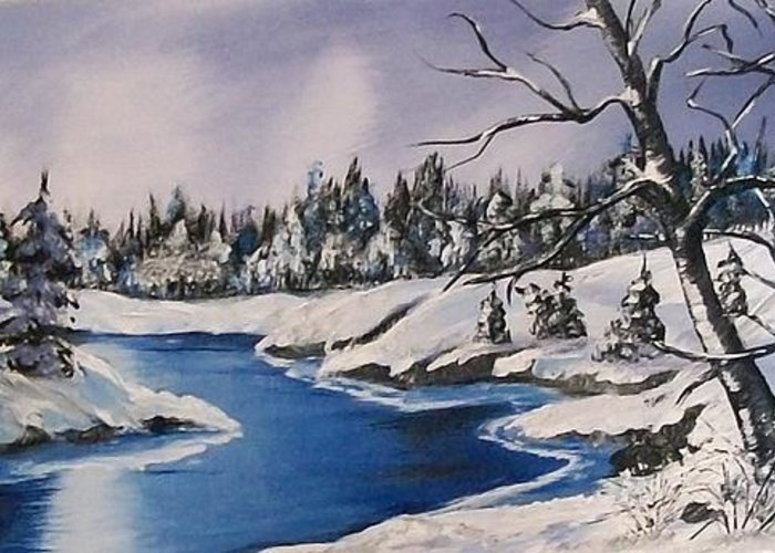 Snow Greeting Card featuring the painting Winter's Blanket by Sharon Duguay