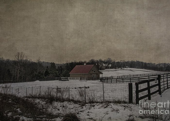 Winter Greeting Card featuring the photograph Winter's Farm by Terry Rowe