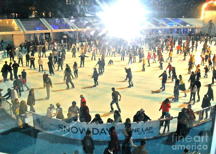 Ice Skating Greeting Card featuring the photograph Wintertime In Bryant Park by Beth Saffer