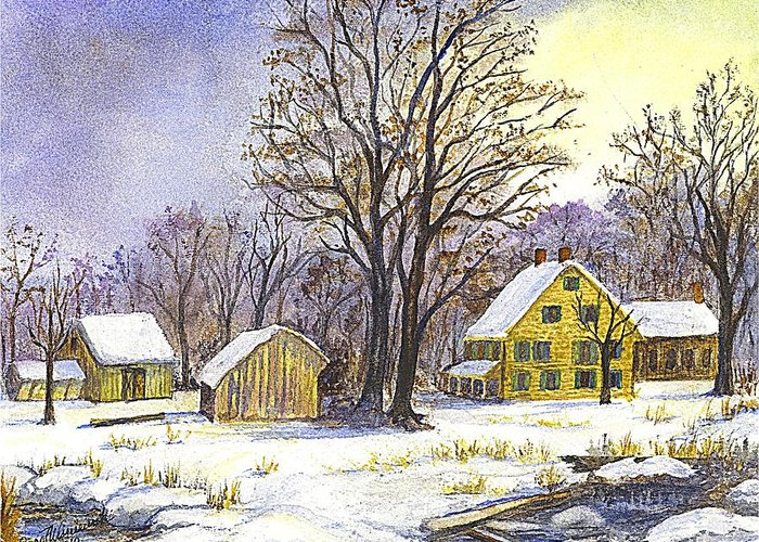 Christmas Cards Greeting Card featuring the painting Wintertime In The Country by Carol Wisniewski
