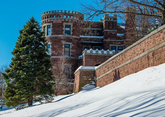 Castle Greeting Card featuring the photograph Wintery Lambert Castle by Anthony Sacco