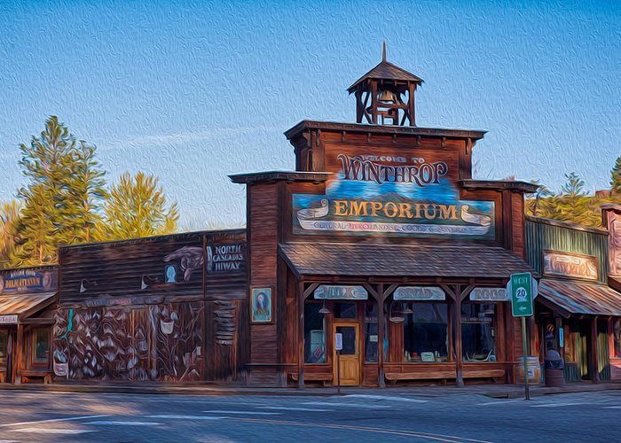 North Cascades Greeting Card featuring the painting Winthrop Emporium by Omaste Witkowski