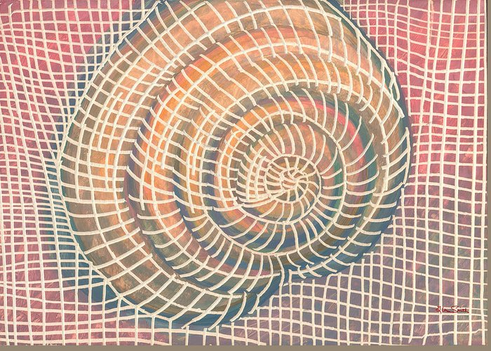 Wireframe Greeting Card featuring the digital art Wireframed Spiral by Richard Glen Smith