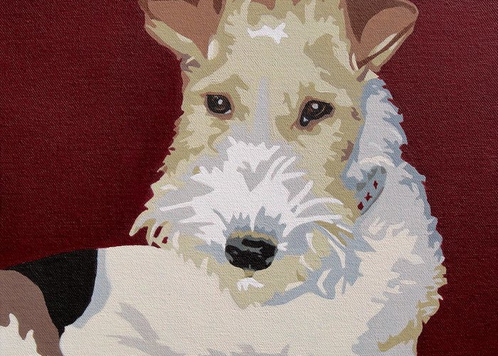 Wire Fox Terrier Greeting Card featuring the painting Wirehaired Fox Terrier by Slade Roberts