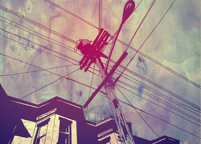 Telephone Wires Greeting Cards