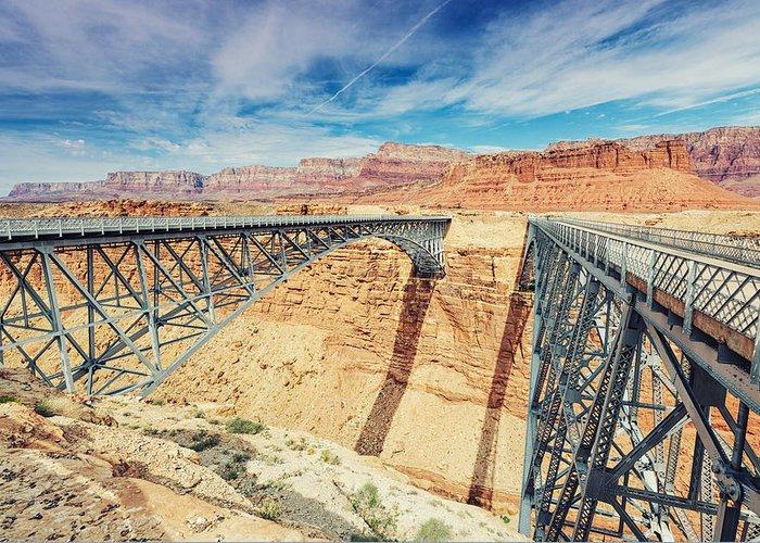 Grand Canyon Greeting Card featuring the photograph Wispy Clouds Over Navajo Bridge North Rim Grand Canyon Colorado River by Silvio Ligutti