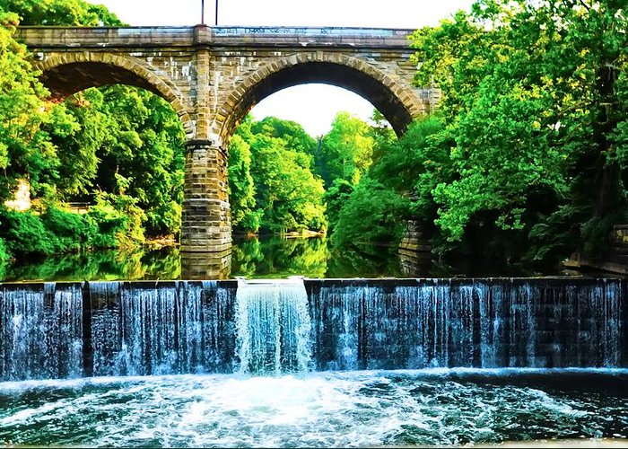 Philadelphia Greeting Card featuring the photograph Wissahickon Falls by Bill Cannon