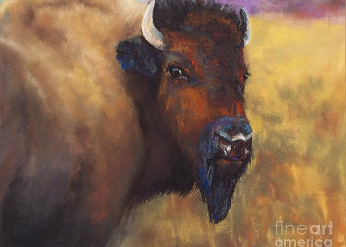 Bison Greeting Card featuring the painting With Age Comes Beauty by Frances Marino