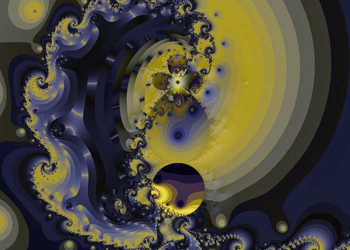 Fractal Art Greeting Card featuring the digital art Within A Wave by Elizabeth McTaggart