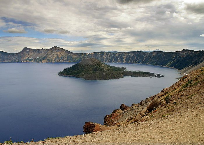 Crater Greeting Card featuring the photograph Wizard Island - Crater Lake Oregon by Christine Till