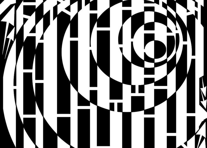 Wobbly Greeting Card featuring the drawing Wobbly Circles Maze by Yonatan Frimer Maze Artist