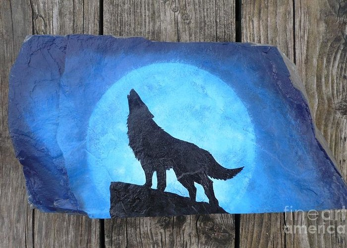 Wolf Greeting Card featuring the painting Wolf Howl2 by Monika Shepherdson