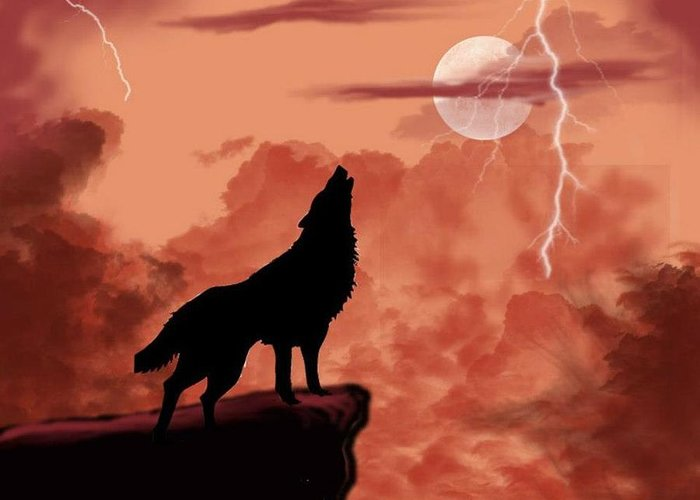Wolf Greeting Card featuring the digital art Wolf Howling In The Night by Edmond Hogge