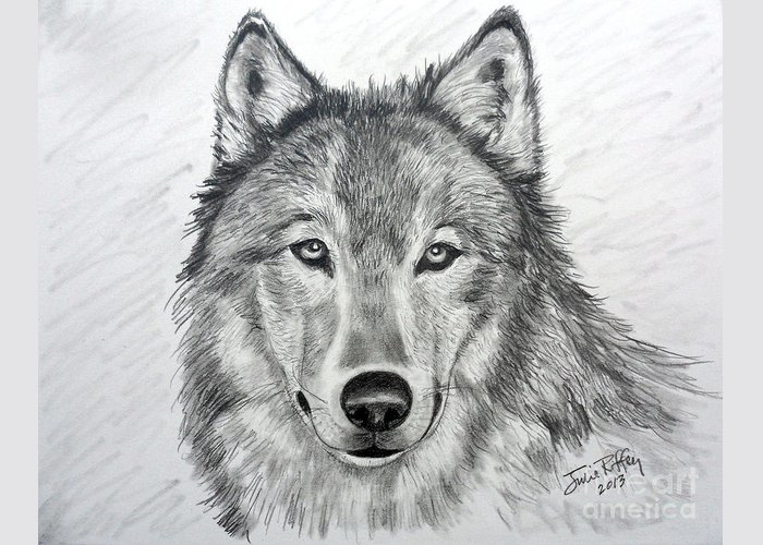 Wolf Greeting Card featuring the drawing Wolf by Julie Brugh Riffey