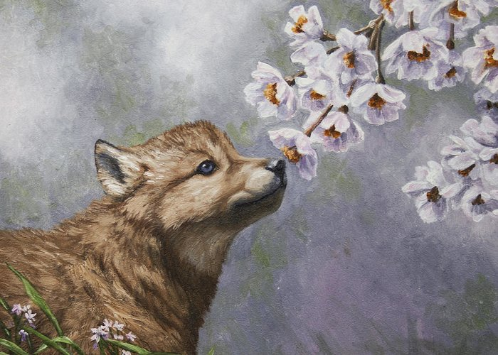 Wolf Greeting Card featuring the painting Wolf Pup - Baby Blossoms by Crista Forest