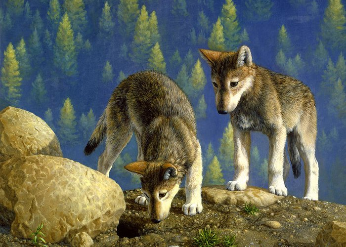 Wolf Greeting Card featuring the painting Wolf Pups - Anybody Home by Crista Forest