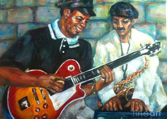 Guitar Greeting Card featuring the painting Wolfman by Beverly Boulet